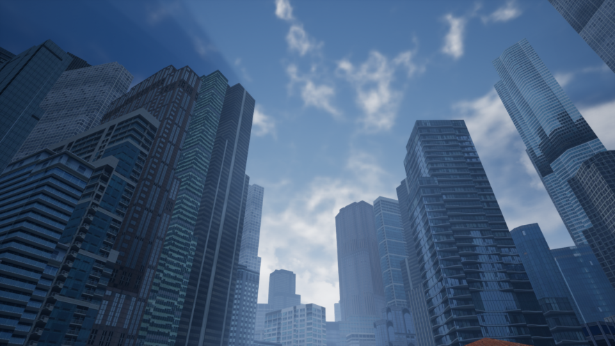 Low-resolution mega-city image generated using VELOCITY by Presagis. Proceduraly-generated city section of 3km x 3km.